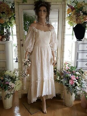 Vintage 1980s Wedding dress made from antique french lace off the shoulder sz S