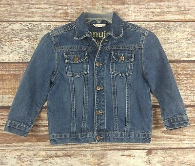 Genuine Kids Oshkosh Denim Blue Jean Trucker Jacket Snap Front Unisex Sz 5T EUC