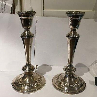 Gorham Vintage Silver plate rose Scroll console tripple use candle sticks.