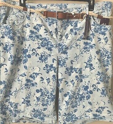 Gloria Vanderbilt Joslyn Shorts NWT Womens Denim Floral Striped W/ Belt