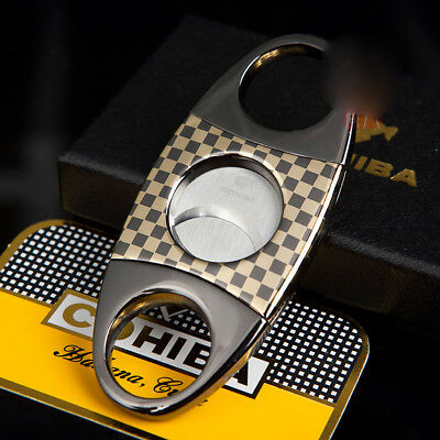 COHIBA Grid Stainless Steel Cigar Cutter Double Blades Pocket Scissor + Pouch