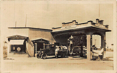 White Eagle Gas Station and Delivery Truck RPPC Postcard