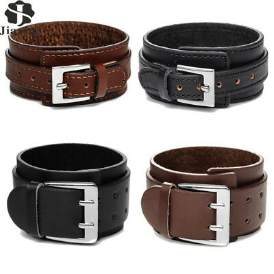 JYQ Fashion Jewelry Double Layer Leather Wide Cuff Bracelet Snap Bangle For Men