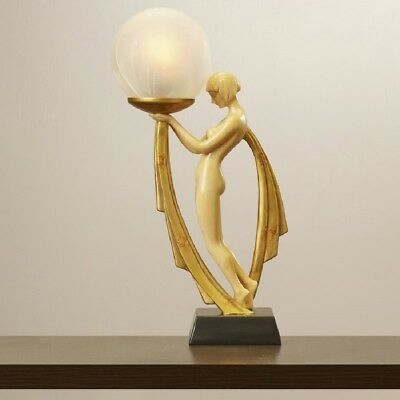 Art Deco Table Lamp Sculpture Lady Figurine Frosted Globe Statue Night Stand