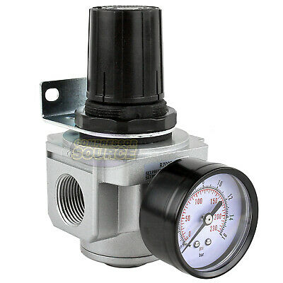 "3/4"" Air Compressor Pressure Regulator w/ Gauge Inline Industrial Quality New"