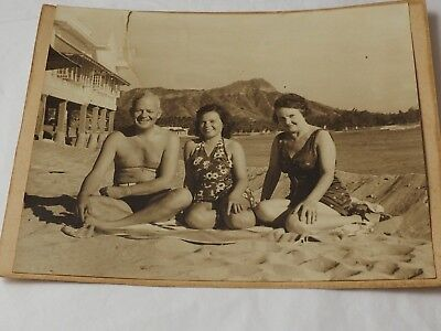 Early Antique Photo of Waikiki WIth Diamond Head in the Background b&w pHOTO