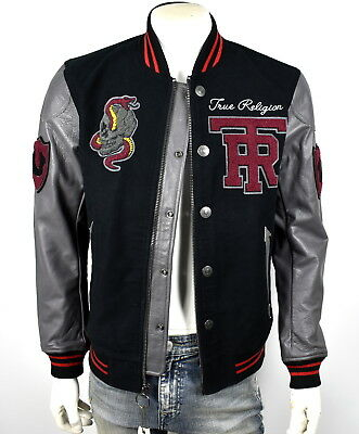 632a25c28 TRUE RELIGION $599 Collegiate Logo Patches Moleskin Leather Jacket ...