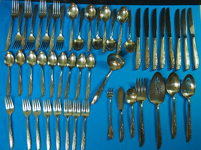 Set 48pc ~ Wm Rogers Silver Plate AA IS ~ STARLIGHT / QUEEN MARY EXCELLENT!