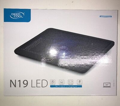 "NEW Deepcool N19 Blue LED Laptop Cooling Pad Slim upto 14"" 140mm Quiet Fan USB"