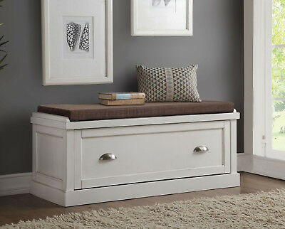 Aislins White Washed Lounge Bench w/ Storage Drawer, Brown Fabric Padded Seat