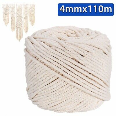 110m 4mm Macrame Rope Natural Beige Cotton Twisted Cord Artisan String Craft