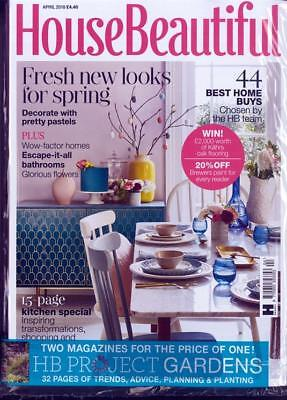House Beautiful Magazine April 2018 ~ With Free Hb Project Gardens Mag ~ New