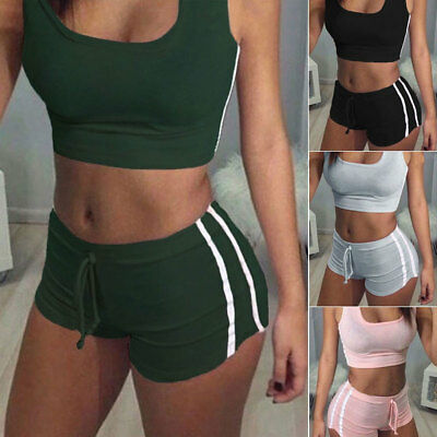 USA  Women Sports Suit Crop Top Pants Outfit Yoga Workout Clothes Tracksuit