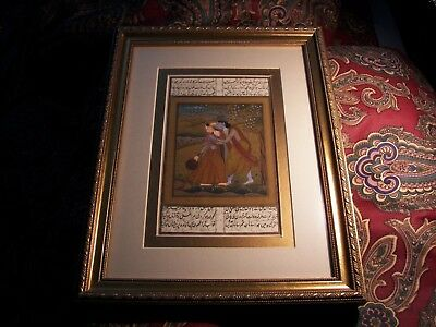 Antique Mughal Love Couple Hand Painted looks Watercolor