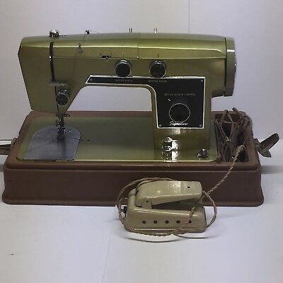 VINTAGE WARDS SIGNATURE Sewing Machine J40C Metallic Olive Green Simple Vintage Signature Sewing Machine