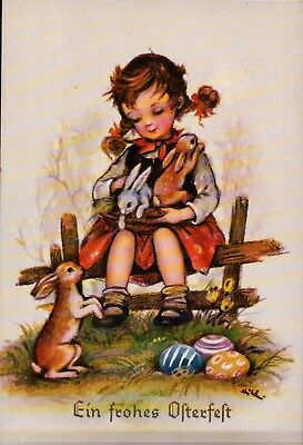 Unused A/S HILDE German Easter Postcard Girl on Fence / BUNNY RABBITS