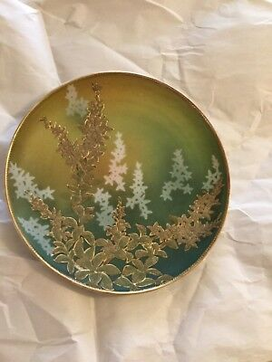 "ANTIQUE Japanese Nippon Kinran Coralene Decorated Hanging Plate #2 - 9.75""W"