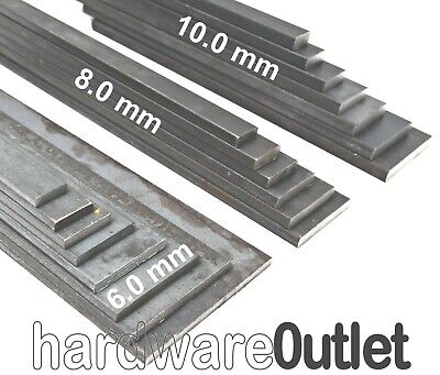 Mild Steel FLAT BAR 6 8 & 10mm Thick in 9 popular lengths & 8 widths Bandsaw Cut