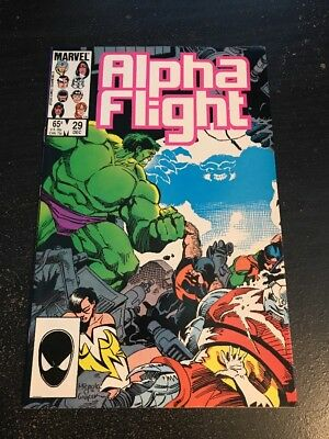 Alpha Flight#29 Incredible Condition 9.4(1985) Hulk Battle , Mignola Art