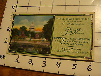 Vintage Troy NY blotter: BOISE STUDIO, COMMERCIAL PHOTOGRAPHER 220 The Capital