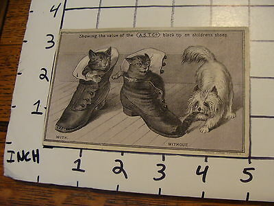 Vintage advertising: A.S.T. co BLACK TIP Childrens Shoes Trade Card CAT & DOG