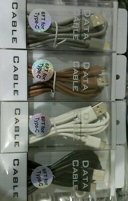 Type-C USB cable 6 FT retail pack, Fast charging, 2.0 Amp Mixed color Lot of 25