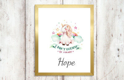 Personalised A4 Unicorn Glitter Prints Pink Rainbow Floral Eyelash GIRLS BEDROOM