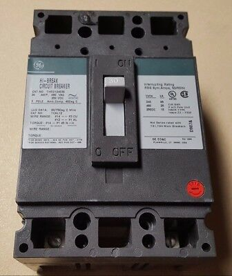 General Electric HI-BREAK CIRCUIT BREAKER 30A 2-Pole 1-Phase 480VAC THED124030