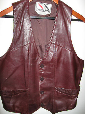 Vintage Chess King Brown Leather Vest - 70's 80's - Fits Mens S/M (Label is L)