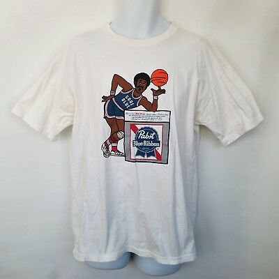 Vintage Pabst Blue Ribbon Cool Blue T-Shirt Basketball Player Mens XL Beer PBR