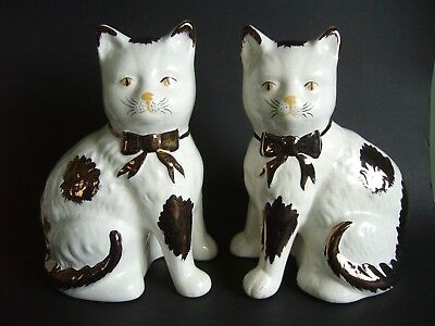Pair Of Antique Staffordshire  Mantle Cats