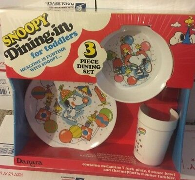 NEW VINTAGE DANARA Knotts Berry Farm SNOOPY 3 pc Dining SET CUP BOWL PLATE kids