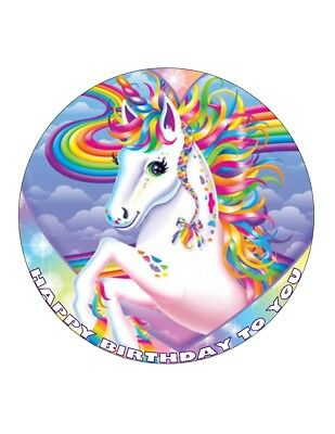 """7.5"""" Rainbow Unicorn  Personalised - Edible Wafer/fondant Paper Cup Cake Toppers"""