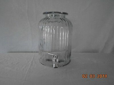 Large Heavy Clear Glass Ribbed Water/ Wine Jug Jar Dispenser With Spigot