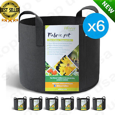 6-Pack 5 Gallon Grow Bags /Aeration Fabric Pots Soil w/ Handles Smart Plant