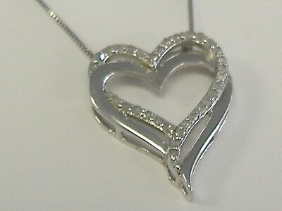 """Sterling Silver Diamond 0.25Ct Tw Heart Necklace 18 """""""
