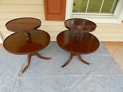 Matching Pair 2 Tiered Round Mahogany Wood Tables - Side, End, Accent