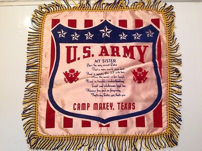 Vintage Camp Maxey Military Silk Pillow Sham Cover Sister US Army Texas