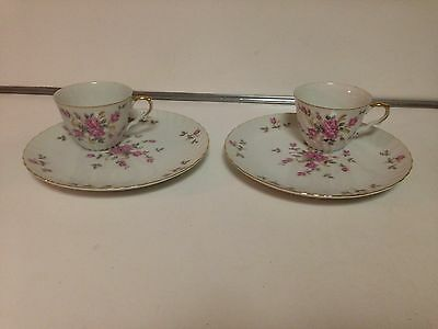LEFTON CHINA CUP/SNACK PLATE HAND PAINTED PORCELAIN Pink Rose 3171N - 2 SETS