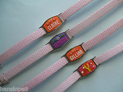 PERSONALISED BRACELETS - GIRLS - Lace Mate with PINK faux leather strap