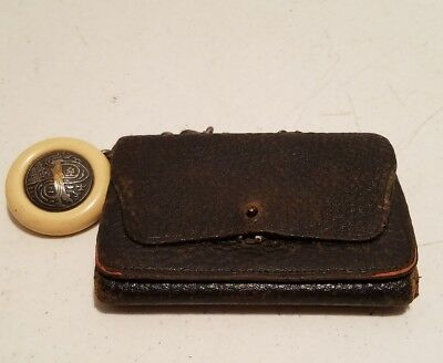Antique 19TH Century JAPANESE LEATHER TOBACCO POUCH with NETSUKE