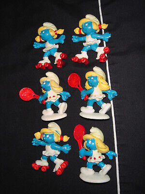 Smurf Like Figures FAKE Smurfettes Made In Spain Lot Of 6 Tennis And Skaters