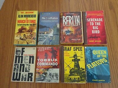 Lot of 8 Vintage Military World War II Paperback Books 1950's-1960's