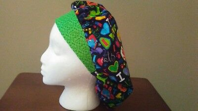 Cats, Hearts, and Love Women's Bouffant Surgical Scrub Hat/Cap Handmade