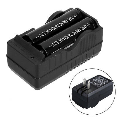 2-Slot Smart Charger For 3.7V 18650 Li-ion Rechargeable Battery LED Indicator US
