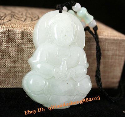 China natural Green jade Ice jadeite Necklace carved godness Guanyin Pendant NO2