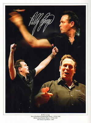 """BOBBY GEORGE-DARTS-PERSONALLY HAND SIGNED 12x16"""" MONTAGE PHOTOGRAPH-AFTAL/UACC"""