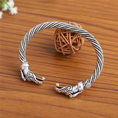 Ancient Viking Raven Crow Head Celtic Knot Dragon Cuff Boho Style Cuff Bracelet