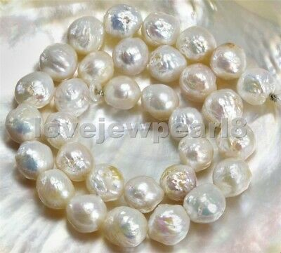 White FRESHWATER PEARLS 15 inch STRAND Nucleated Baroque loose pear