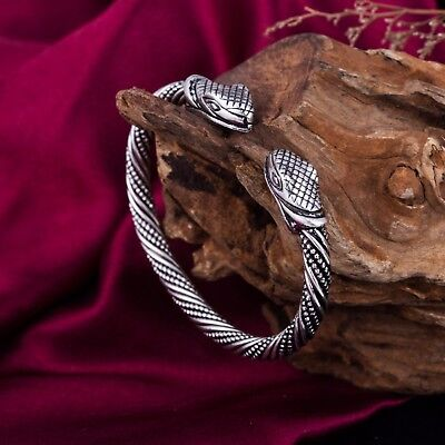 Ancient Viking Snake Boho Serpent Head Celtic Knot Cuff Bracelet for Men Women